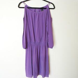 WHBM Purple Cold Shoulder Silk Dress